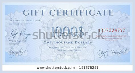Gift certificate, Voucher, Coupon template with blue guilloche - money voucher template