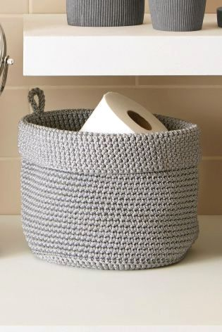 A Very Cute Small Knitted Basket It S Ideal For The Loo Roll Storage Gone Are The Days Of Horrid Bathroom Basket Storage Small Bathroom Storage Diy Bathroom