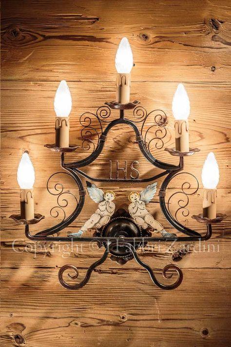 Applique a 5 luci con angeli - in ferro battuto decorato a mano disegno Olivieri