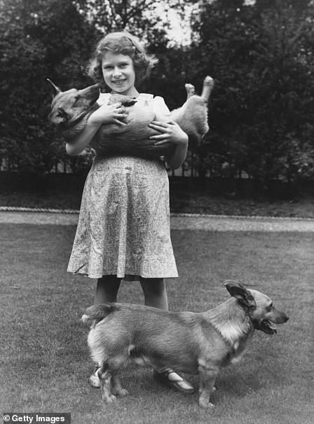 The Queen pictured with two of her corgis at Buckingham Palace in 1936...