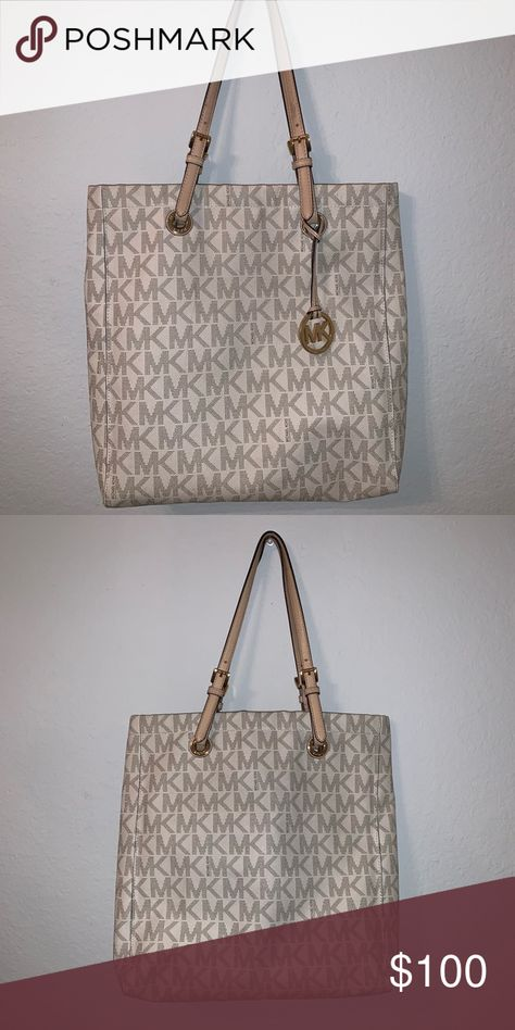 MK tote Large tote bag, White MK print , great condition