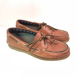 Timberland Brown Tan Leather Loafer Boat Shoes 8 #fashion