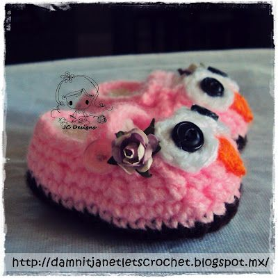 Free Pattern damn it Janet, lets crochet!: Baby Owl Booties