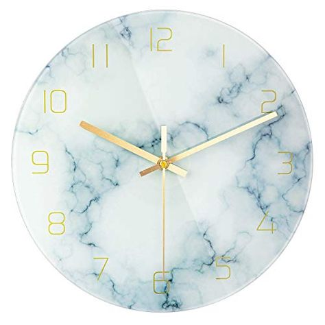 Patgo Glass Marble Silent Wall Clock For Living Room Decor 12 Inch Modern Non Ticking Decora Clock Wall Decor Aesthetic Bedroom Wall Clock Glass