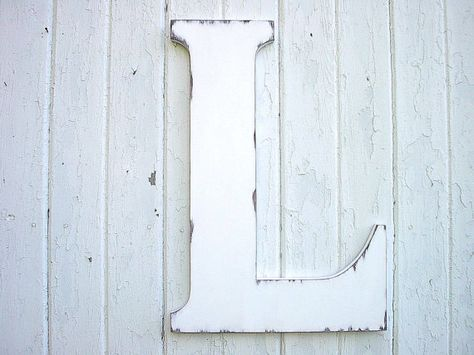 Distressed Wedding Decor Wooden Letter L White by LettersofWood