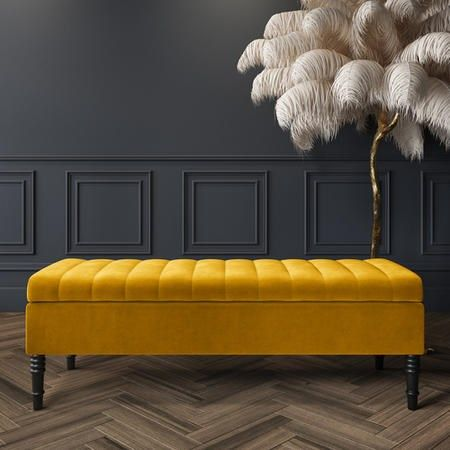 Buy Safina Striped Top Ottoman Storage Bench In Yellow Velvet From