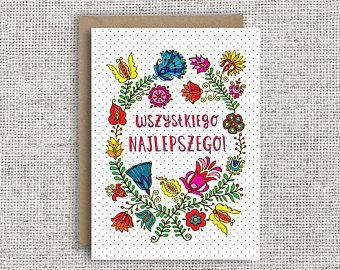 Polish Birthday Card Wszystkiego Najlepszego Sto Lat Polish Embroidery Wycinanki Polish Folk Art Birthday Card Happy Birthday Fun Birthday Cards Cards