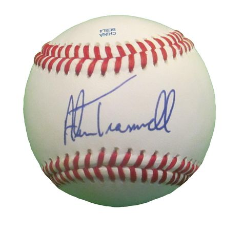 Alan Trammell Autographed Rawlings ROLB1 Leather Baseball, Proof Photo