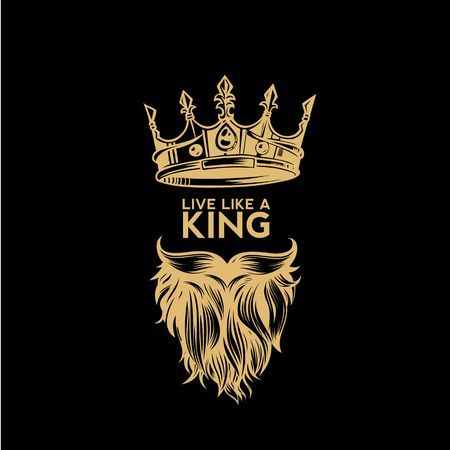 A Golden Logo Of Crown Mustache And Beard Vector Illustration Beard Vector Crown Tattoo Design Beard Logo Design