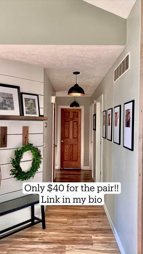 Updated hallway with pendant lights.  Only $40 for the pair from Amazon!!