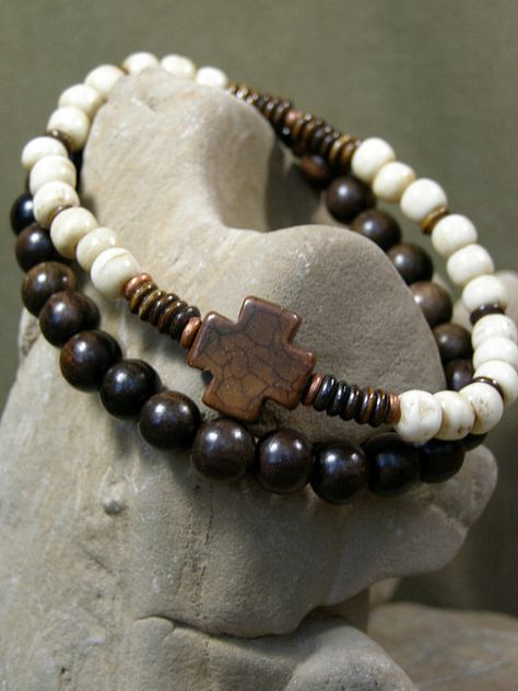 A mens cross stretch bracelet set with a rustic southwest flair, one beaded with dark brown 8mm wood mala beads and the other with 6mm round natural bone, dark brown bone heishi and a brown magnesite cross with a touch of copper on each side.    Size: 8    Look for more designs in my shop here:  stoneweardesigns.etsy.com