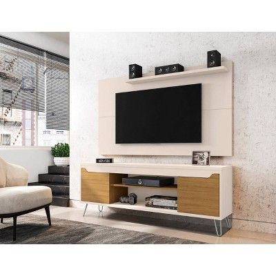 50 Baxter Tv Stand And Liberty Panel Off White Cinnamon Manhattan Comfort In 2020 White Paneling Manhattan Comfort Entertainment Center