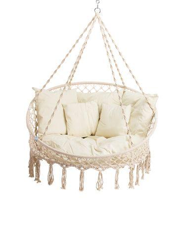 Indoor Outdoor Hanging Macrame Chair Accent Chairs T J Maxx Macrame Hanging Chair Macrame Chairs Diy Hanging Chair