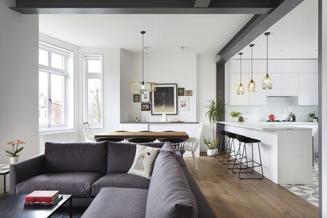 Unire cucina e soggiorno, riorganizzare gli spazi e avere più luce. A Londra la ristrutturazione di Glenshaw Mansions dello studio Rise Design