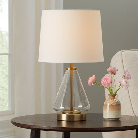 Mainstays Glass With Brass Base Table Lamp 18 H Table Lamp Farmhouse Table Lamps Guest Bedroom Decor