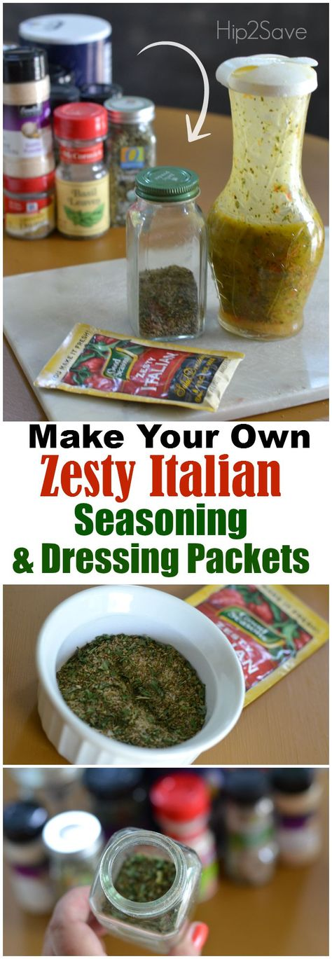 Zesty Italian dry seasoning packets are super versatile. In addition to using them to create homemade salad dressing, these packets can be used to quickly season grilled meat, create marinades, and to add to roasted potatoes & veggies and slow cooker meal Homemade Spices, Homemade Seasonings, Homemade Italian Seasoning, Homemade Dry Mixes, Pasta Bar, Homemade Italian Dressing, Zesty Italian Dressing Mix Recipe, Good Seasons Italian Dressing Mix Recipe, Do It Yourself Food