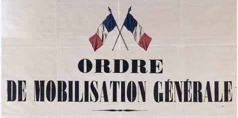 Cartel de la mobilizacion general el 02.08.1914.