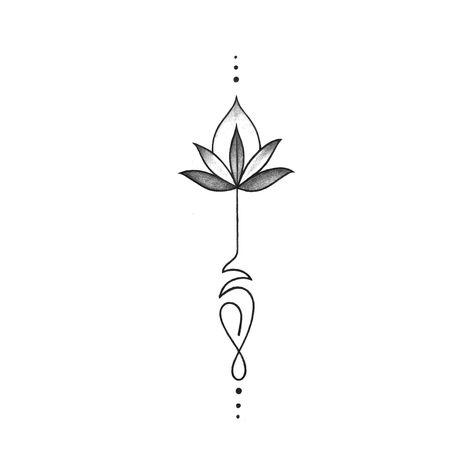 Gray Lotus Temporary Tattoo Design
