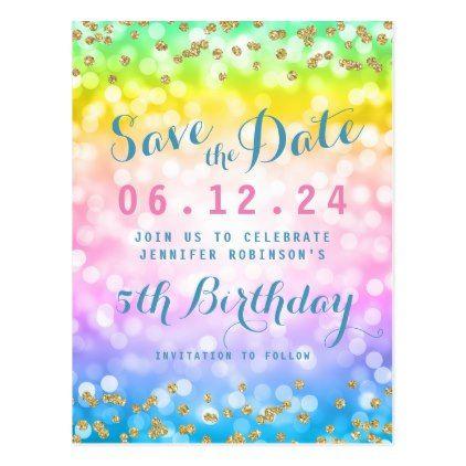 Kids Birthday Party Save The Date Unicorn Rainbow Announcement Postcard Zazzle Com In 2021 Kids Birthday Party Kids Birthday Party Invitations