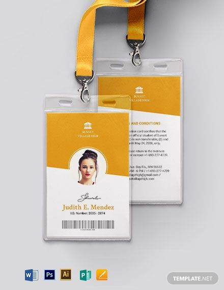 Vertical School Id Card Template Word Doc Psd Apple Mac Pages Illustrator Publisher Id Card Template Employee Id Card School Id