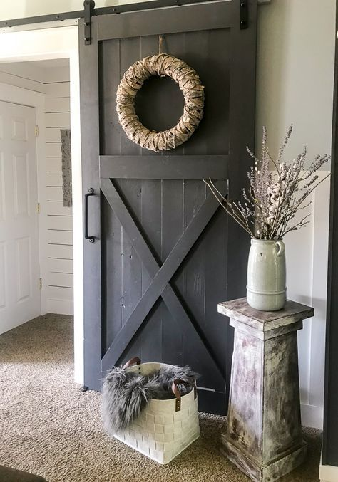 An easy and thorough step-by-step tutorial on how to make a sliding barn door. Barn doors make a statement in any room and become the decor. How to Make Your Own Sliding Barn Door - Repurpose Life Door Design, Farmhouse Decor, Diy Home Decor, Barn, Door Kits, Diy Door, Diy Sliding Barn Door, Sliding Doors, Doors