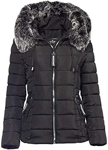 Trisens Damen Winter Jacke Pelz Kapuze KURZ Mantel SKI Jacke