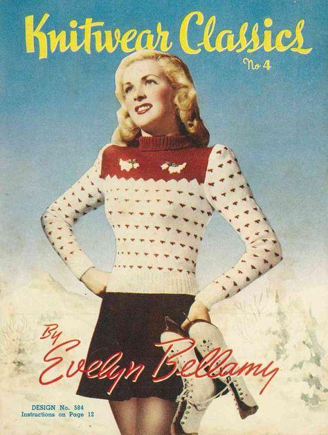Copo de Nieve Navidad. Vintage Tejer patrón 1940s Lady/'s Fair Isle Jumper