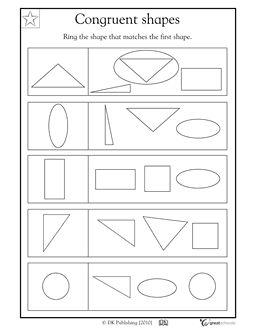 1st Grade Kindergarten Math Worksheets Congruent Shapes With
