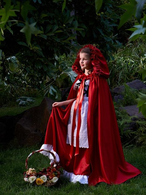 Hooded Cape in Satin with Rose Embellishments for Little Red Riding Hood costume by Ella Dynae, $98.00