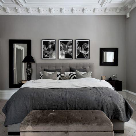 Black And Grey Bedroom, Grey Bedroom Decor, Bedroom Paint Colors, Room Ideas Bedroom, Modern Bedroom, Men's Bedroom Design, Ikea Bedroom, Master Bedroom, Bedroom Furniture