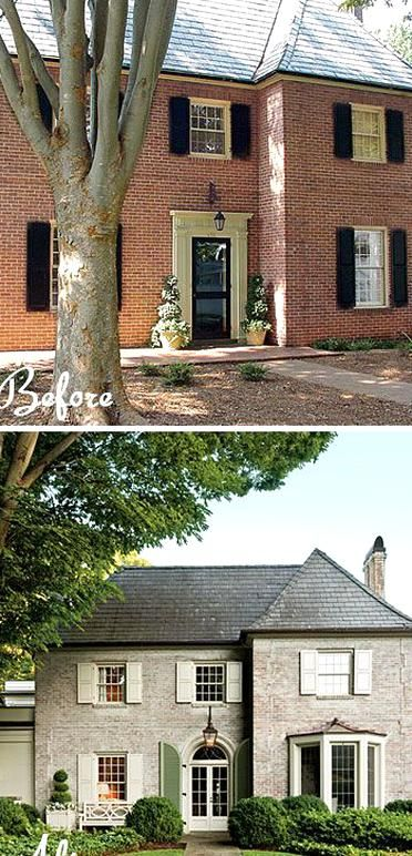 Red Brick To French Country Paint New Entry Window With Copper Roof In 2020 Painted Brick House Home Exterior Makeover Exterior Brick