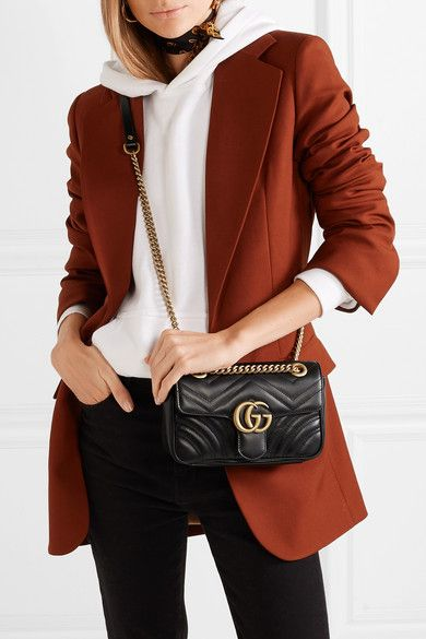 81bdf534c Gucci - Gg Marmont Quilted Leather Shoulder Bag - Black in 2019 ...