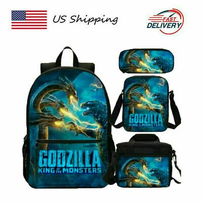 Godzilla Kids Schoolbag Backpack Insulated Lunch Bag Cross Body Bag for Boys LOT