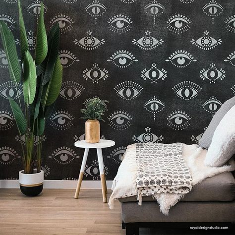 Boho Wall Stencils - Protective Eyes - All Seeing Eye - Evil Eye – Royal Design Studio Stencils Moroccan Style Bedroom, Moroccan Wall Art, Moroccan Decor, Large Wall Stencil, Stencil Painting On Walls, Floor Painting, Faux Painting, Wall Stencil Patterns, Damask Stencil