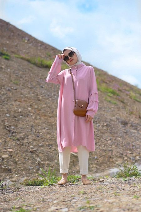 Elif Eser Pembe Kol Detayli Tunik Online Satis Indirimli Satin Al Moda Stilleri Tunik Pembe