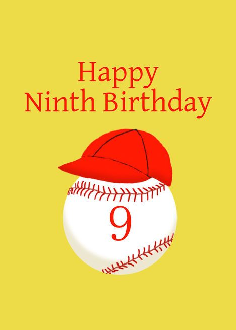 Ninth Birthday With Baseball Softball Red Cap Card Ad Sponsored Baseball Birthday Ninth Twelfth Birthday Red Cap Cards Tenth Birthday
