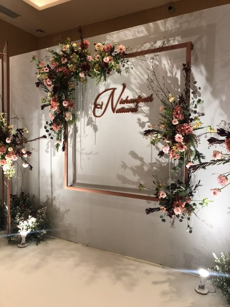Trendy Wedding Rose Gold Backdrop Ideas