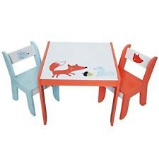 Ebay Sales Children Wooden Table Chair White Fox Kids Play Dining