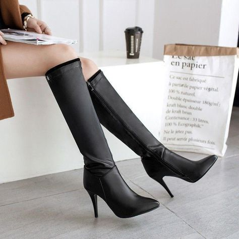 e17af0769ea9 Women Pointed Toe Leather Knee High Boots Slouch High Stiletto Heels Zipper  Shoe  fashion  clothing  shoes  accessories  womensshoes  boots (ebay link)