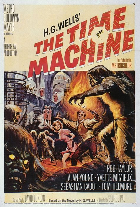 1960 classic sci-fi movie poster. H.G. Wells' first masterpiece (1895) adapted successfully into a film. An Englishman travels to the far future and finds that humanity has divided into two species, Eloi and Morlocks. JAN16
