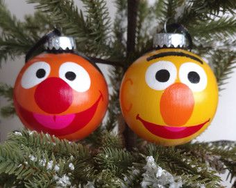 Bert And Ernie Set Of 2 Ornaments Muppets Ornament Sesame Street Ornament B Sesame Street Christmas Christmas Ornaments To Make Christmas Ornaments Homemade