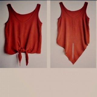 Cut an old t shirt into a front tie tank top. So cute