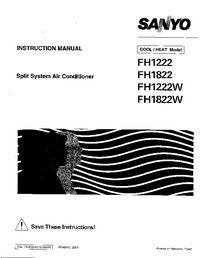 Sanyo FH1 222W Air Conditioner Service Manual