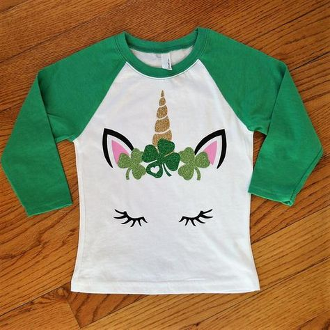 153cc820b34b7 Girl s St. Patrick s day shirt  Girl s St. Patrick s raglan shirt  Custom St.  Patrick s day shirt fo