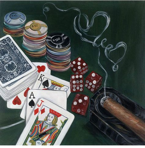 Poker Hand by Frank Walcott - Extra Large Artwork - 47 x 35 x 2