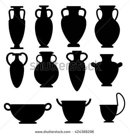 Vector Ancient Greek Vases Set Amphora Kyathos Skiathos
