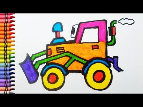 Cara Menggambar Dan Mewarnai Excavator Untuk Anak Youtube