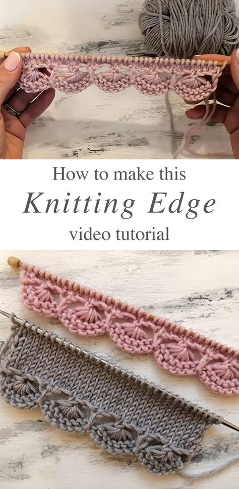 Knitting Decorative Edge You Will Love This knitting decorative edge is a popular project because it beautifies objects and accessories. Watch this tutorial to learn this knitting edge. Easy Knitting Projects, Knitting Designs, Knitting Patterns Free, Knit Patterns, Free Knitting, Crochet Projects, Free Crochet, Knit Crochet, Crochet Hooks