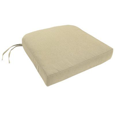 Easy Way Products Knife Edge Indoor Outdoor Sunbrella Contour Chair Cushion With Ties And Zippered Fabric Canvas Antique Beige Size 3 5 H X 19 W Chair Cushions Indoor Chair Cushions Chair Cushion