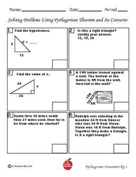 Pythagorean Theory Christmas Coloring Worksheet 8 7c Solving Word Problems Word Problems Color Worksheets